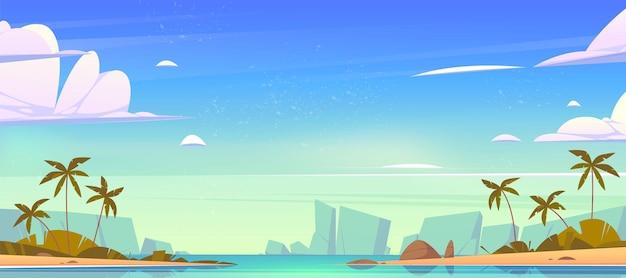 Paisagem tropical com baía, praia de areia, palmeiras e montanhas no horizonte Vetor grátis
