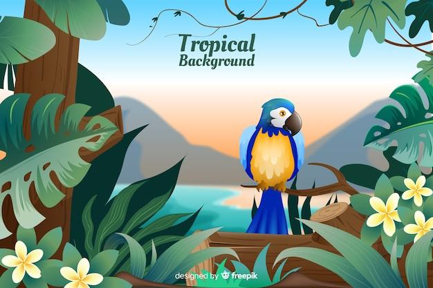 Paisagem tropical, com, papagaio, fundo Vetor grátis