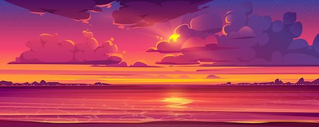 Paisagem tropical com pôr do sol e oceano Vetor grátis