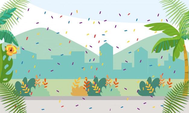 Paisagem tropical e paisagem urbana vector ilustração de fundo Vetor Premium