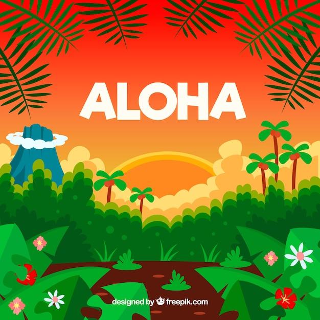 Paisagem tropical, fundo aloha Vetor grátis