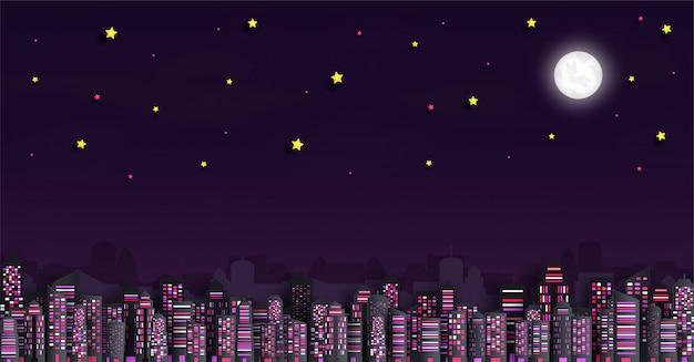 Paisagem urbana com arranha-céus à noite Vetor Premium
