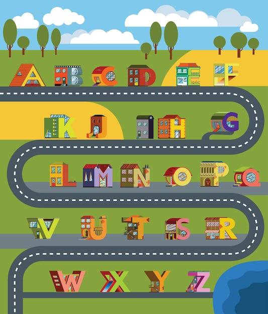Paisagem urbana da cidade alfabética em estilo design plano. casa alfabética para educação Vetor Premium