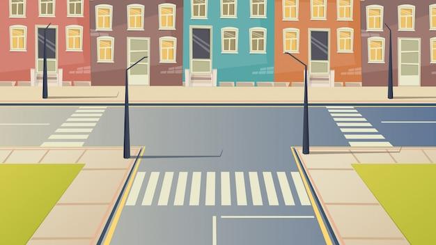 Paisagem urbana da rua dos desenhos animados da estrada transversaa. Vetor Premium