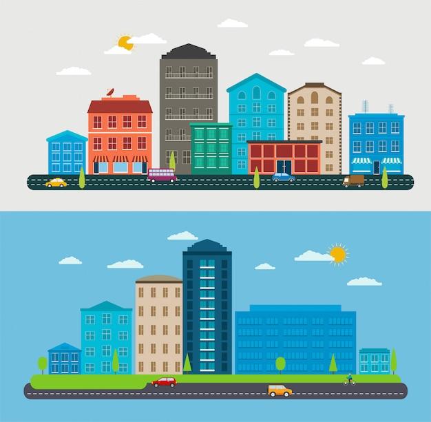 Paisagem urbana de design plano, cena da cidade de composição, parques, carros de tráfego Vetor Premium