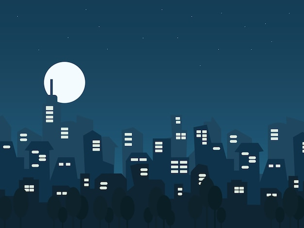 Paisagem urbana de noite de ilustração em estilo simples Vetor Premium