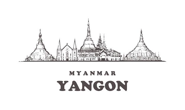 Paisagem urbana de yangon, myanmar Vetor Premium