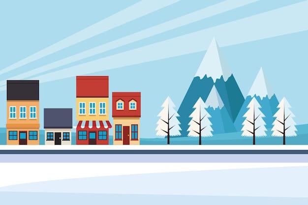 Paisagem urbana do efeito da mudança climática com ilustração da cena da neve Vetor Premium