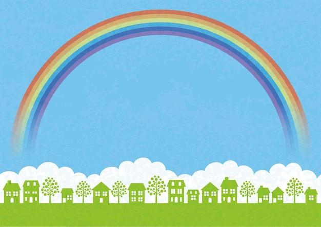 Paisagem urbana perfeita com campo verde, céu azul, nuvens brancas, um arco-íris e espaço de texto. ilustração vetorial. Vetor grátis