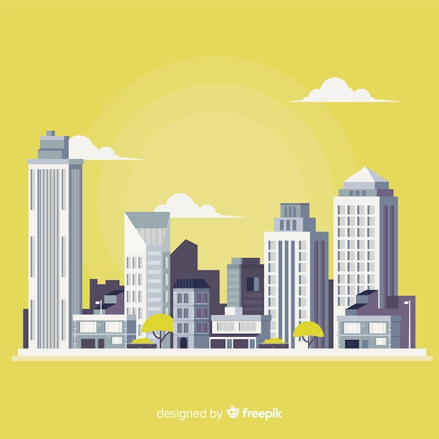 Paisagem urbana plana com prédios de escritórios Vetor grátis
