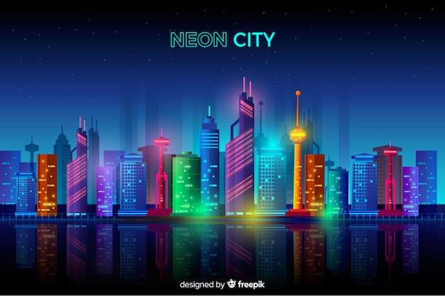 Paisagem urbana plana de néon Vetor grátis