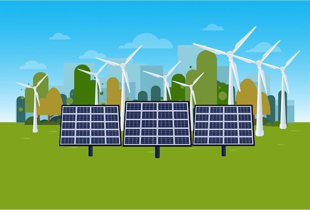 Paisagem verde da natureza do conceito da energia com turbinas eólicas e painéis solares Vetor Premium