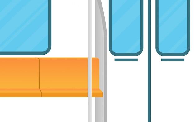 Paisagem vista dentro do trem do metrô (subterrâneo) com assento vazio Vetor Premium