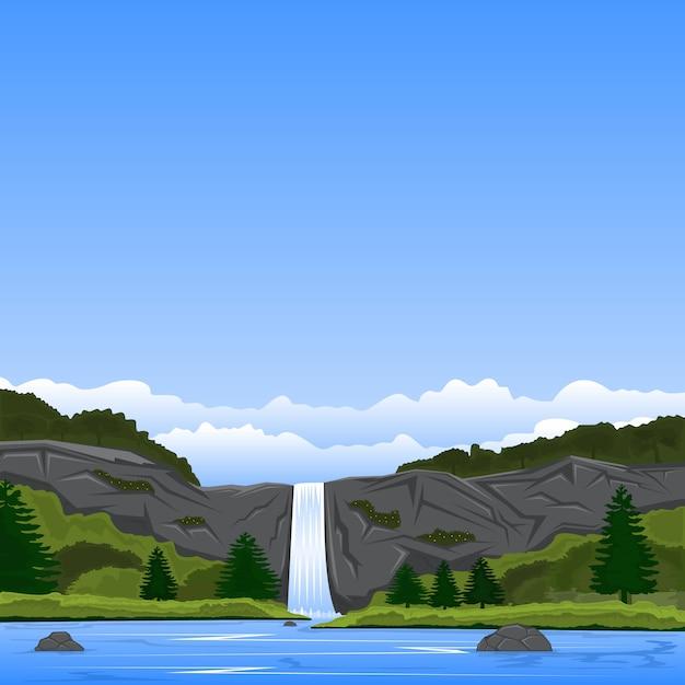 Paisagem, vista, rocha, penhasco, cachoeiras, lagos Vetor Premium