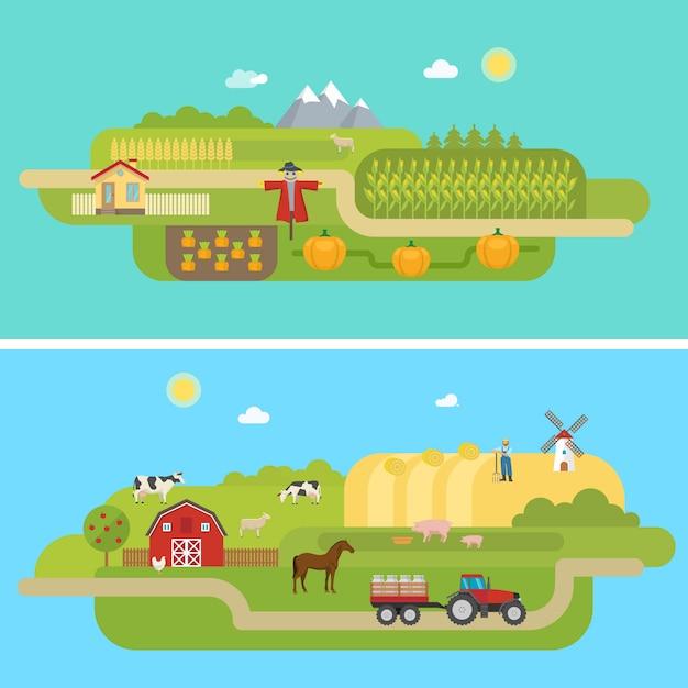 Paisagens agrícolas de verão Vetor grátis