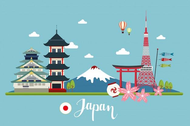 Paisagens de viagem no japão Vetor Premium