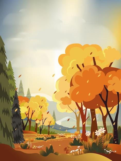 Paisagens do panorama da fantasia do campo no outono, panorâmico do outono meados de com campo de exploração agrícola, montanhas, grama selvagem e folhas caindo das árvores na folha amarela. paisagem do país das maravilhas no outono Vetor Premium
