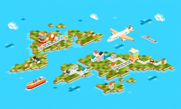 Paisagens isométricas com aeroporto, avião, construção, barco, marinho. conjunto de paisagem do aeroporto na ilha. navegação gps isométrica em 3d no aeroporto - Vetor Premium