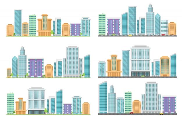 Paisagens urbanas sem costura horizontais com vários edifícios Vetor Premium