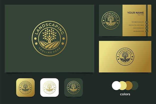 Paisagismo elegante com design de logotipo de pessoas e árvores e cartão de visita Vetor Premium