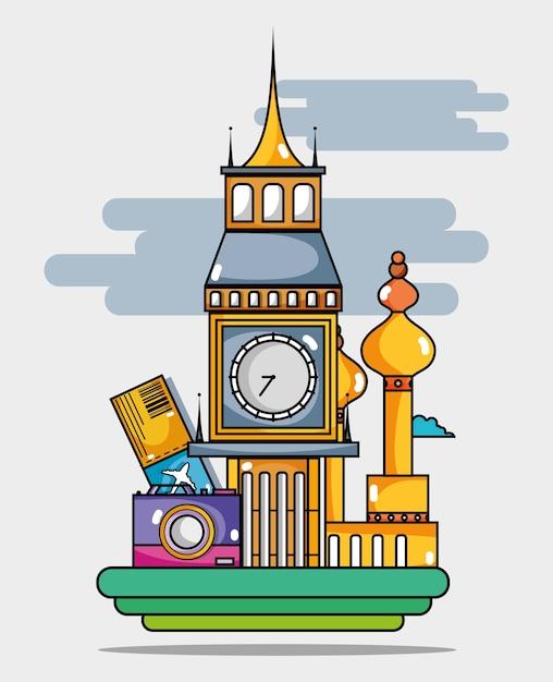 Países de férias de viagem para visitar Vetor Premium