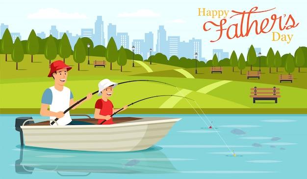Paizinho e filho dos desenhos animados que sentam-se no barco e na pesca. Vetor Premium