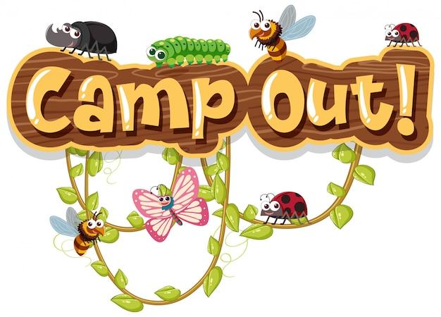 Palavra acampamento fora com bugs na videira Vetor Premium