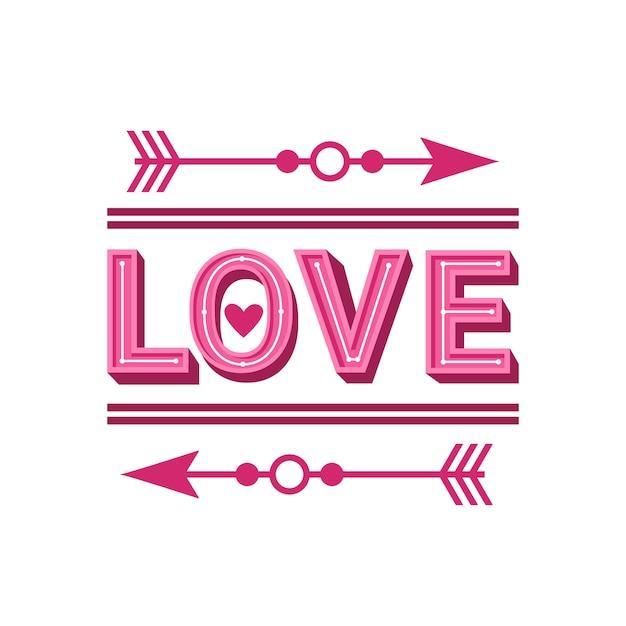 Palavra de amor cartão com design de setas Vetor Premium