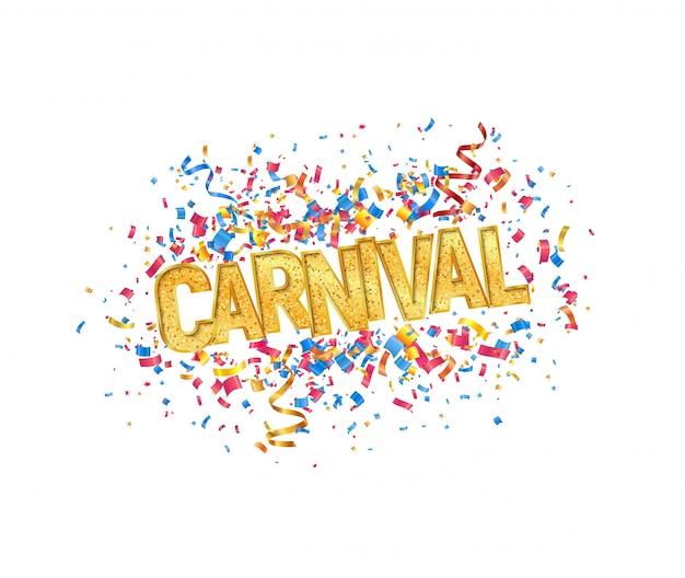 Palavra de carnaval dourado isolado vector e confetes coloridos em elemento de design de fundo branco Vetor Premium