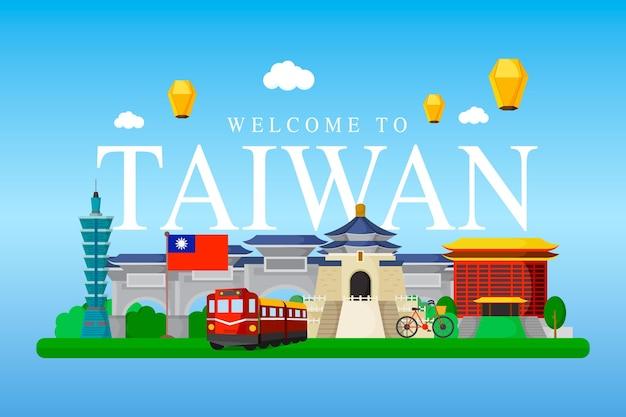 Palavra de taiwan com pontos de referência ilustrados Vetor grátis