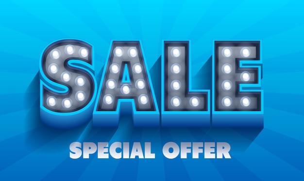 Palavra de venda. banner de letreiro luminoso retrô com lâmpadas brilhantes. Vetor Premium