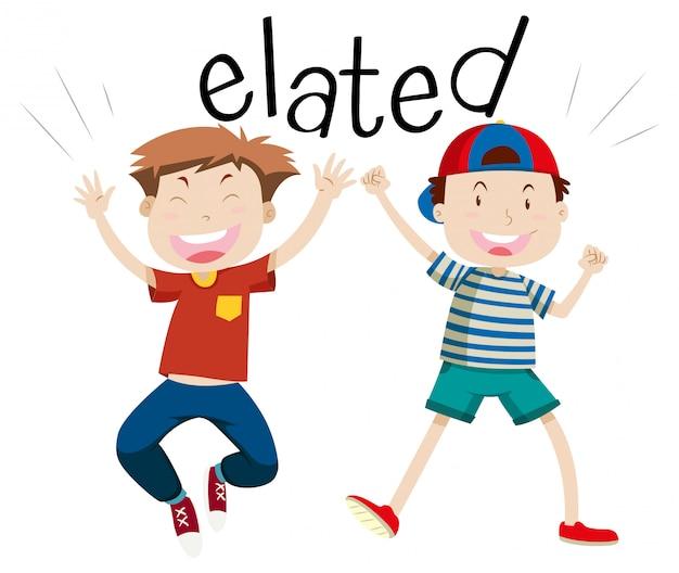 Palavra do vocabulário em inglês elated Vetor grátis