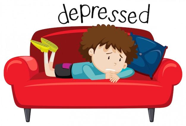 Palavra do vocabulário inglês de deprimido Vetor grátis