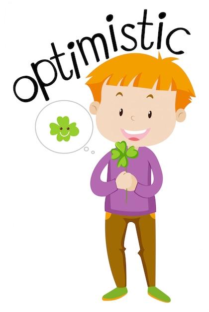 Palavra do vocabulário inglês otimista Vetor grátis