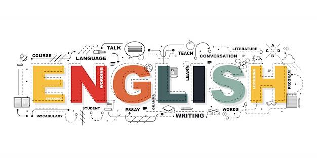 Palavra em inglês para banner de educação Vetor Premium