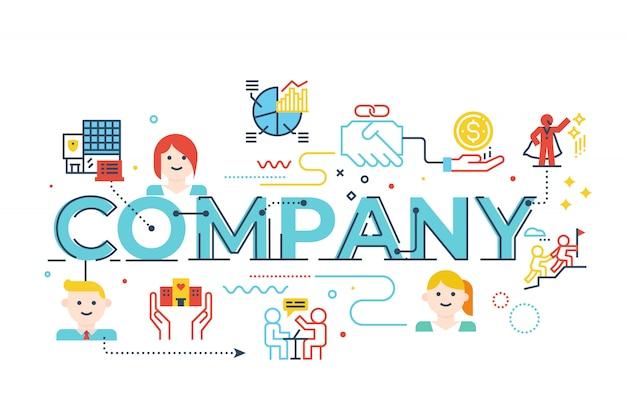Palavra empresa, lettering, ilustração Vetor Premium