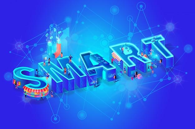Palavra isométrica inteligente no gradiente azul Vetor Premium