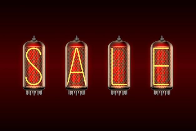 Palavra venda em lâmpadas indicadoras de tubo nixie com estilo retrô Vetor Premium