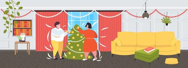 Palavras-chave: inverno pares obesity decorar árvore homem mulher obesity conceito feriados inverno junto obesidade conceito feriados moderno inverno gordo mulher interior Vetor Premium