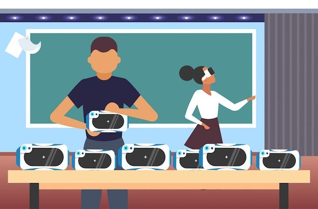 Palavras-chave: pares teste vidros 3d estudantes realidade virtual realidade virtual óculos visão conceito tecnologia desgastar moderno conceito retrato interior vidros horizontal Vetor Premium