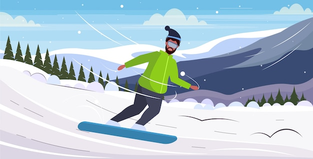 Palavras-chave: snowboarder homem snowboard overweight deslize guy snowboard atividade inverno conceito perda perda paisagem montanhas horizontal fundo paisagem comprimento comprimento total Vetor Premium