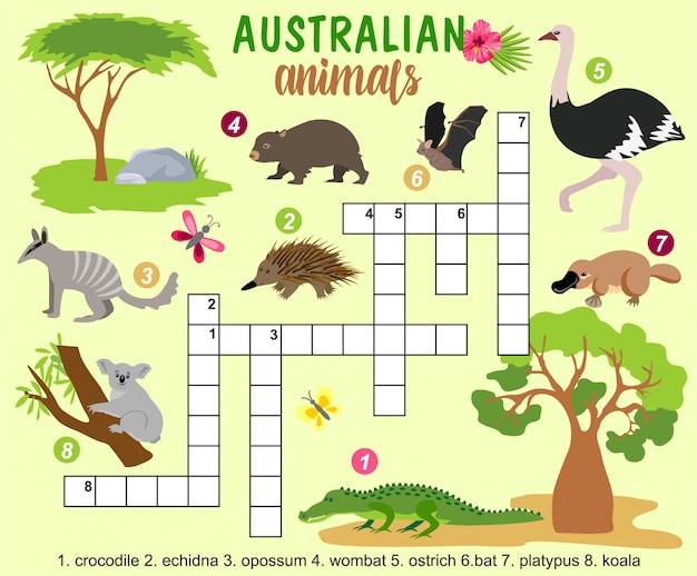Palavras cruzadas de animais australianos Vetor Premium
