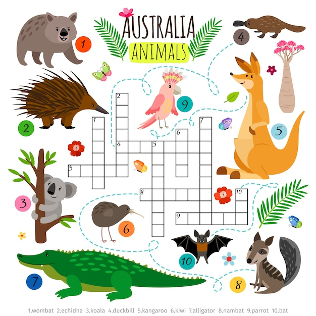 Palavras cruzadas de animais australianos. Vetor Premium