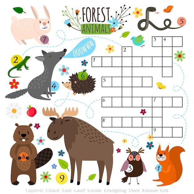 Palavras cruzadas de animais. livro puzzle cruz jogo de palavras com ilustração em vetor floresta animais Vetor Premium