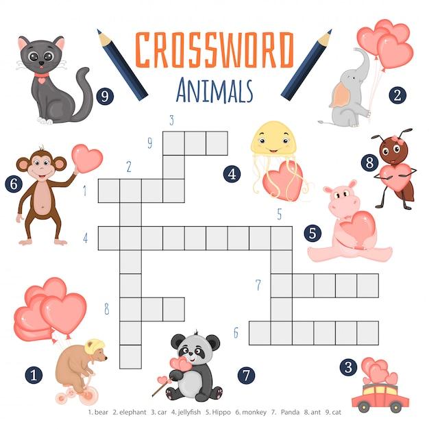 Palavras cruzadas de cor do vetor, jogo de educação para crianças sobre animais Vetor Premium