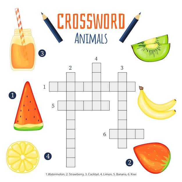 Palavras cruzadas de cor, jogo de educação para crianças sobre animais Vetor Premium