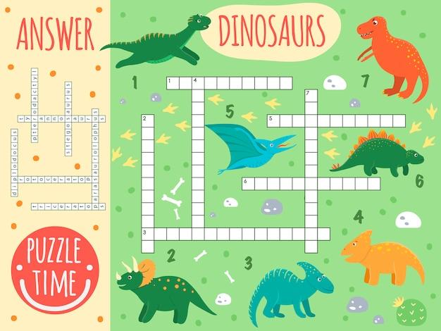 Palavras cruzadas de dinossauro. questionário brilhante e colorido para crianças. atividade de quebra-cabeça com pterodáctilo, estegossauro, tiranossauro, parasaurolophus, triceratops, protoceratops, diplodocus, t-rex. Vetor Premium