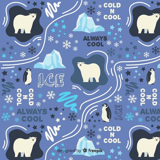 Palavras de mão desenhada e padrão de animais polares Vetor grátis