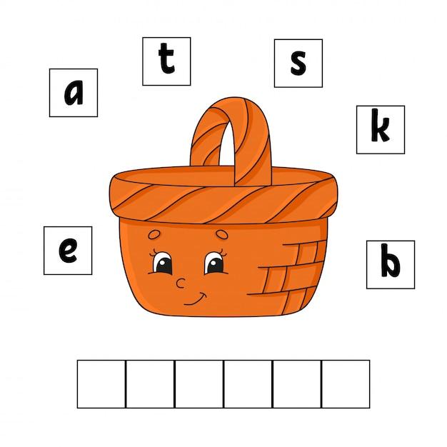 Palavras enigma. planilha de desenvolvimento de educação. aprendendo jogo para crianças. página de atividade. quebra-cabeça para crianças. enigma para a pré-escola. apartamento simples isolado ilustração vetorial no estilo bonito dos desenhos animados. Vetor Premium