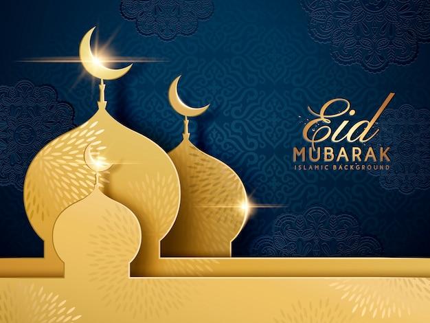 Palavras felizes do feriado com mesquita dourada e fundo azul escuro floral Vetor Premium